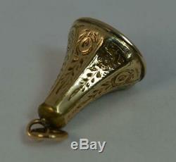 Or Victorienne Cased Banded Agate Montre De Poche Fob Seal Pendentif T0416