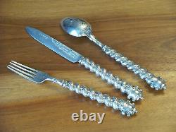 Orné Victorien 1850 Hm Antique Silver Baptême Cutlery Set Original Box