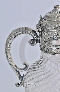 Ornement 1897 Anglais En Argent Sterling À Cheval Claret Jug Repousse