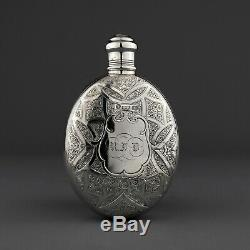 Ornement Argent Massif Victorien Hip / Liquor Flask. George Unite, Birm