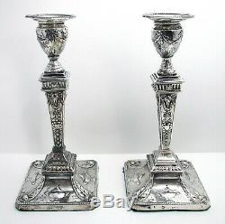 Paire Belle Antique Victorienne Adam Style Anglais En Argent Sterling Bougeoirs