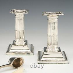 Paire De Chandeliers Doric Sterling Silver 1900