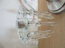 Paire De Collection Hawkes Prisme De Cristal De Base En Argent Sterling Candélabres Bougeoir