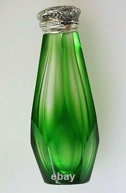 Parfum Haut Argent Bouteille Antique Verre Vert Overlay Bouteille Parfum Avec Bouchon