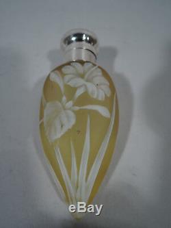 Parfum Victorien Bouteille Antique Art Anglais Cameo Glass & Sterling Silver