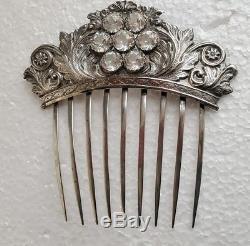 Peigne À Cheveux En Argent Massif Victorien Antique, Coller Des Pierres, Coiffe D'ornement