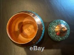 Persan Tea Set Turquoise Stone & Copper Fabriqué Par Maître M. Aghajani