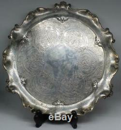 Plateau Victorien En Argent Sterling À Motif Barnard Brothers V. 1876 dia 13+ 27 + Oz Tr