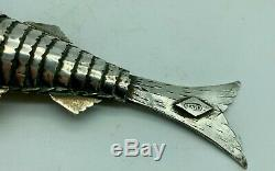 Poisson Antique Silver Articulé Spice Ou Tabatière Vers 1880