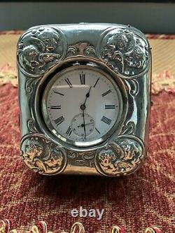 Porte-montre Antique En Argent Sterling / Étui + Montre De Poche