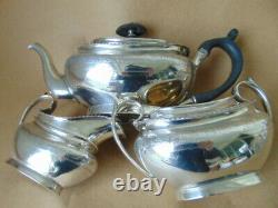Pretty Victorian Sterling Silver Flowers Tea Set 1878, Barnard