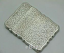 Qualité Antique Sterling Argent Massif Victorienne Cas Carte Renversante (1460/9 / Vywn)