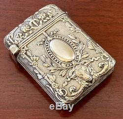 Rams Headfrench Silver Sterling Match Safe Coffret Vesta Nouveau Victorian Antique