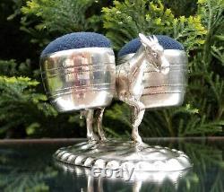 Rare 19ème Siècle Victorien En Argent Massif Donkey Épingle Coussin