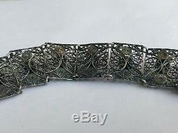 Rare Antique 19ème Siècle Victorien Argent Massif Memento Mori 9 Crânes Bracelet