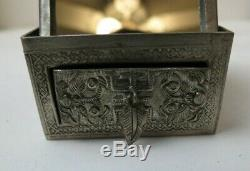 Rare Antique Figural Chinois En Argent Sterling Mirrored Maquillage Compact Avec Tiroir