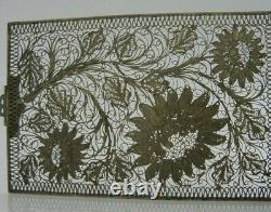 Rare Beautiful Solid Silver Filigre Card Case Georgian Victorian Antique