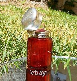 Rare Belle Victorian Charles Mai Argent Solide Coupé Verre Rubis Bouteille De Parfum