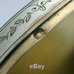 Rare Box Snuff Ronde En Argent Massif Rond Argent C1880 Superbe Antique