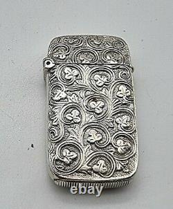 Rare Embossed Shamrock Design Antique Sterling Argent Cas Vesta Chester 1886
