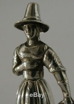Rare Étui À Aiguille Figure Argent Massif C1850 13 Loth Couture Victorienne Antique