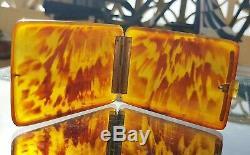 Rare Étui À Cigare Victorien Faux Blonde Tortue C1880