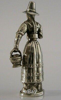Rare Figure Argent Massif Aiguille Case C1850 13 Loth Antique Victorienne Couture