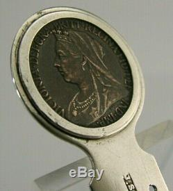Rare La Dernière Pièce Victorienne Signé Argent Sterling Silver 1901 Mort De Victoria