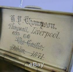Rare Liverpool Dublin Intérêt Victorien En Argent Sterling Tabatière 1870 Antique