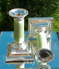 Rare Paire Victorian Martin Hall & Co Solid Silver & Green Stained Candlesticks