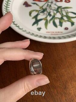 Rare Pansy Photo Locket Mourning Ring Français Victorian Art Nouveau Solid Silver