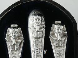 Rare Revival Égyptien 3 Pièces D'argent Couverts Tubé 1873 Christening Set Pharaoh