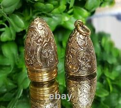 Rare Superbe Victorian Gilt Floral & Scroll Chatelaine Oval Scent Bottle 1881