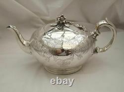 Rare Théière Victorienne Hm Sterling Silver Bullet 1839