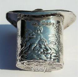 Rare Victorian Edwin Thompson Bryant Novelty Solid Silver Top Hat Snuff Box 1900