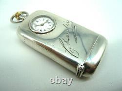 Rare Victorian Sterling Silver Combination Vesta, Sovereign Case - Horloge De Montre