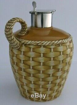 Rare Victorienne En Argent Sterling Monté En Céramique Whisky Cruche Cruche 1891 Antique