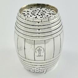 Rare Victorienne Garrard & Co En Argent Sterling Nouveauté Beer Barrel Traquenard Pot 1900