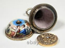 Rare Vinaigrette Viennoise Victorienne Samuel Goldfarb Silver Émail Pear Shape