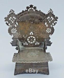 Salière Chaise Impériale D'argent Russe Aleksandr Fuld Moscou 1915