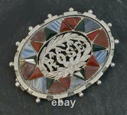 Scottish Victorian Silver Banded Agates & Bloodstone Rose Broche
