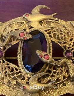 Serpents Birdslarge Amethyst Glass Edwardian Antique Pin Broche Victorienne Nouveau