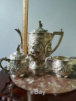 Service À Thé En Argent Sterling Maxwell & Sons Ltd Victorian Silver 1200g +