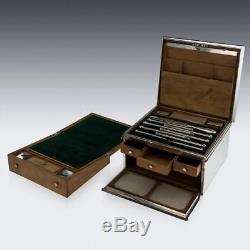 Set De Bureau D'ecriture De Bureau Ancien Argent Massif Victorien Du Xixe, Londres V. 1863