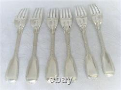 Set De Qualité 6, Victorian Table En Argent Massif / Fourches-londres 1870 G. Adams