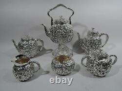 Shiebler Coffee Tea Set 1493 Antique Repousse American Sterling Silver