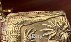 Shiebler Figural Alligator Argent Sterling Vesta Match Safe Victorian Nouveau
