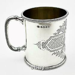 Silver De Sterling Victorien Gravé 1/3 Mug Christening Pint / Cup Sheffield 1876