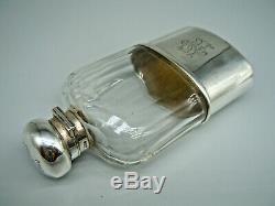 Smart Antique Victorian En Argent Massif Et Verre Flasque 1899