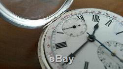 Solide Argent Victorienne Pocketwatch, Mouvement Suisse Heuer, 30 Min Chronographe